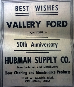 "Newspaper clipping taken from the a March 1964 edition of the ""Waverly News"" celebrating the 50th anniversary of Vallery Ford in Waverly, Ohio."