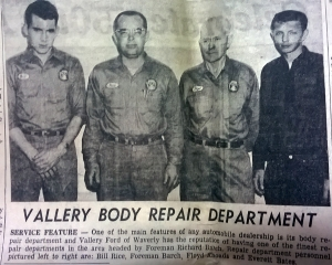 """Newspaper clipping taken from the a March 1964 edition of the """"Waverly News"""" celebrating the 50th anniversary of Vallery Ford in Waverly, Ohio."""